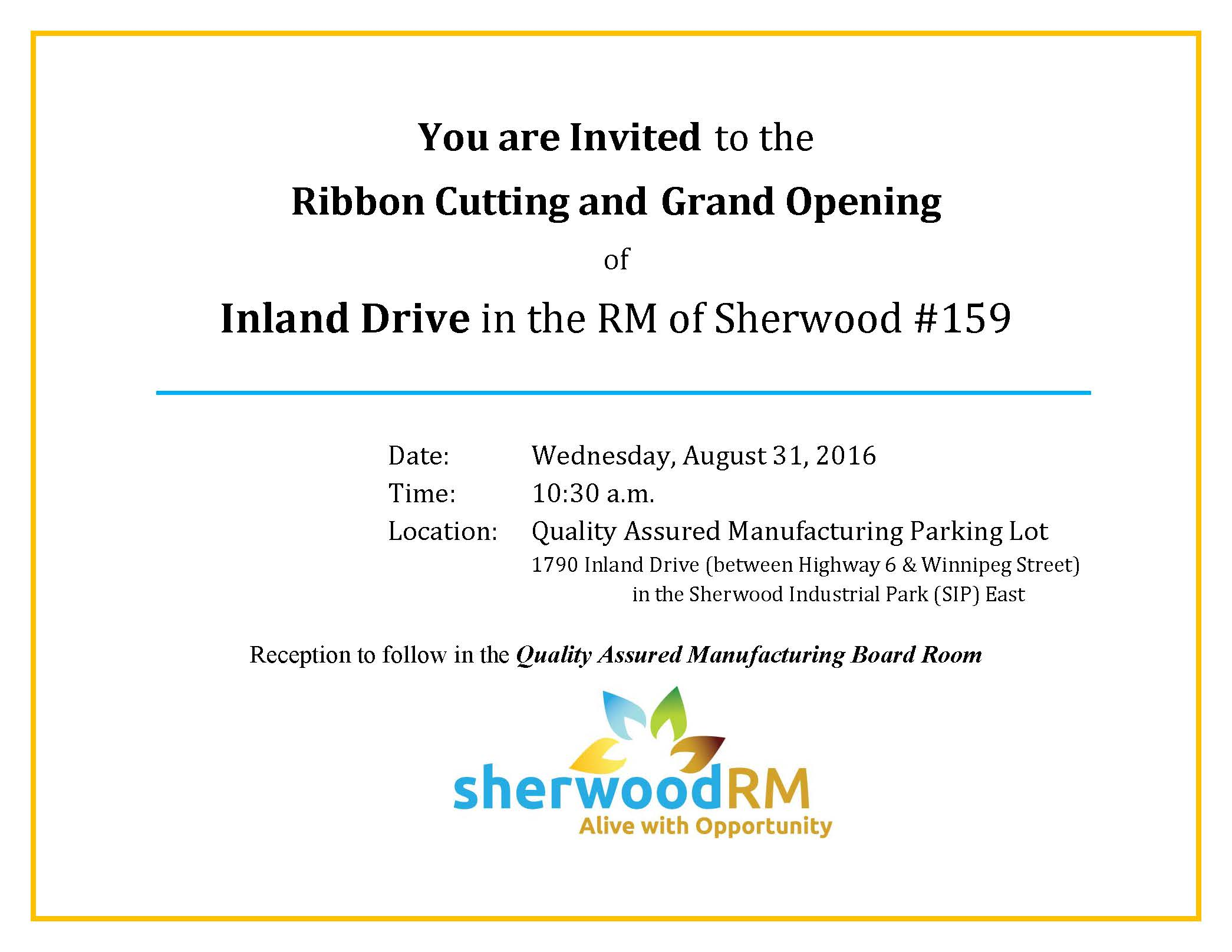 ribbon cutting and grand opening of inland drive invitation rm of